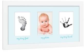 Pearhead Tiny Ideas White & Blue Baby Prints Photo Frame with Included Ink Pad