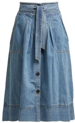Sea Deja Tie Front Denim Skirt - Womens - Denim
