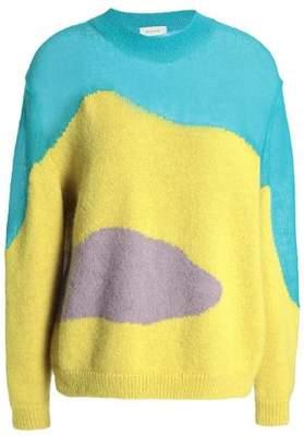 DELPOZO Color-Block Intarsia Alpaca-Blend Sweater