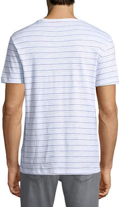 Slate & Stone Striped Crewneck Pocket Tee, White/Blue