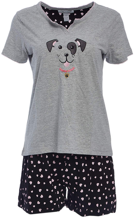 Gray Puppy Notch Neck Pajama Set - Women