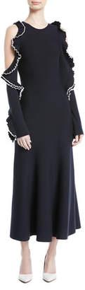 Oscar de la Renta Cold-Shoulder Long-Sleeve Wool Knit Dress w/ Ruffled Trim