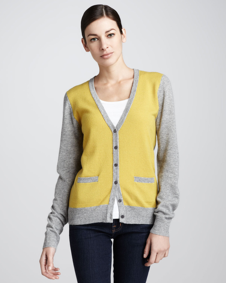 Neiman Marcus Two-Toned Cashmere Cardigan