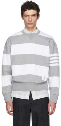 Thom Browne Grey Striped Cotton Sweatshirt