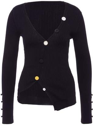 'Le Tordu' mixed button rib knit cardigan