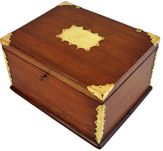 One Kings Lane Vintage Antique Lillian Brass & Wood Box - Acquisitions Gallerie