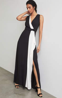 BCBGMAXAZRIA Colorblocked Draped Ruffle Gown