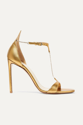 Francesco Russo Chain-embellished Metallic Leather Sandals - Gold