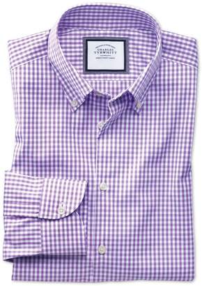 Charles Tyrwhitt Classic Fit Button-Down Business Casual Non-Iron Lilac Cotton Formal Shirt Single Cuff Size 17/36