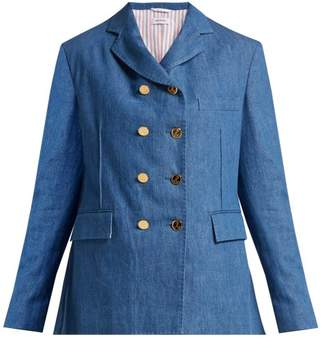 Thom Browne Denim Double Breasted Blazer - Womens - Denim