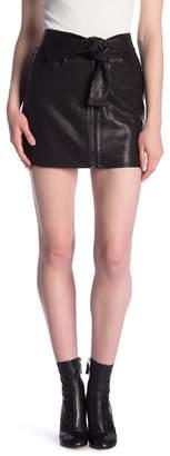 Frame Lamb Leather Tie Waist Mini Skirt