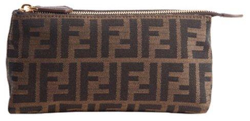 Fendi tobacco brown zucca spalmati zip cosmetic case
