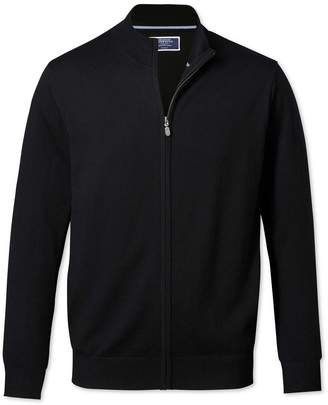 Charles Tyrwhitt Black Merino Wool Zip Through Cardigan Size Medium