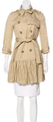 RED Valentino Eyelet-Trimmed Trench Coat