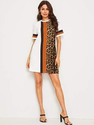 Shein Color-block Leopard Print Tunic Dress
