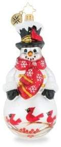 Christopher Radko Euroglass Christmas Cardinal Keeper Snowman Ornament