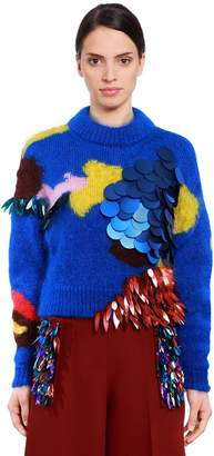 DELPOZO Sequined Mohair & Silk Knit Sweater