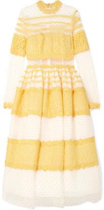 Costarellos Lace-trimmed Swiss-dot Tulle Midi Dress