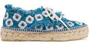 Loeffler Randall Frayed Embroidered Canvas Espadrilles