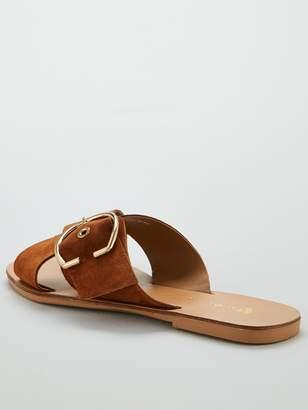 Very Harriet Leather Buckle Cross Strap Sliders - Tan