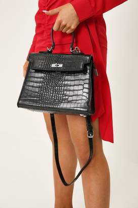 I SAW IT FIRST Black Croc Print Oversized Structured Bag
