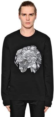 Just Cavalli Tiger Printed Cotton Sweatshirt W/ Zips