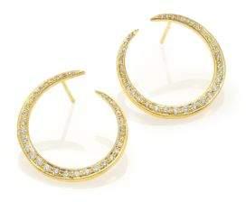 "Ila Ahdra Val Diamond& 14K Yellow Gold Hoop Earrings/0.85"""