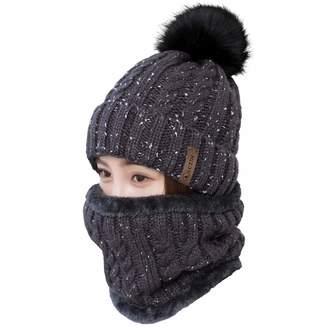 5f2c0496fc9f06 LCZTN Womens Pom Beanie Hat Scarf Set Girls Cute Winter Ski Hat with Fleece  Lined