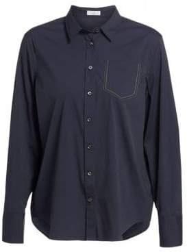Brunello Cucinelli Women's Patch Pocket Button-Up Shirt - Midnight - Size XS