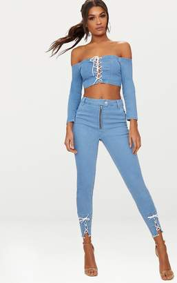 PrettyLittleThing Light Wash Lace Up Skinny Jean
