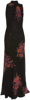 Etro High-neck sleeveless floral-print gown
