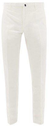 Incotex Slim Leg Linen Chino Trousers - Mens - White