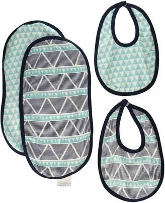 Bacati Liam Aztec Triangles Muslin 4 Piece Set of Burpies/Bibs