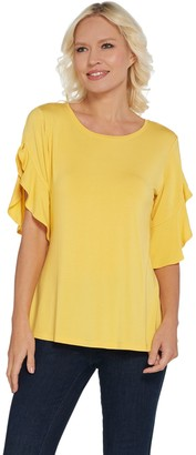 Halston H By H by Flutter Sleeve Crew Neck Knit Top