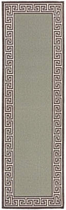 "Surya Alfresco Alf-9625 Sage 2'3"" x 11'9"" Runner Area Rug, Indoor/Outdoor"