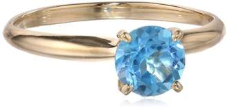 14k White Gold 6mm Round Swiss Topaz 4-Prong Solitaire Ring