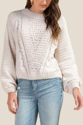 francesca's Hillary Chenille Cable Knit Sweater - Brick