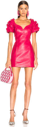 Area Leather Balloon Dress in Ruby | FWRD