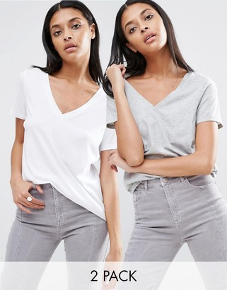ASOS The Ultimate V- Neck Slouchy T-Shirt 2 Pack $23 thestylecure.com