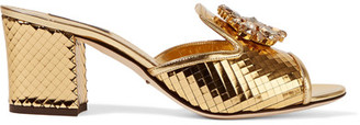Dolce & Gabbana - Crystal-embellished Metallic Leather Mules - Gold $945 thestylecure.com