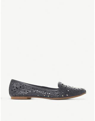 Dune Galatia floral laser-cut leather loafers