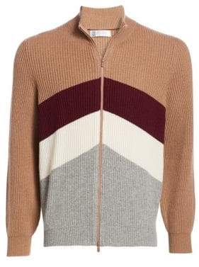 Brunello Cucinelli Sport Graphic Rib-Knit Zip Front Sweater
