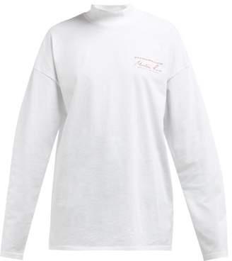 Martine Rose Logo Print Long Sleeved Cotton T Shirt - Womens - White
