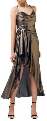 Ever New Metallic Cowl Neck Crossback High-Low Side Drape Dress