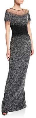 Pamella Roland Ombre Crunchy-Sequin Gown