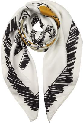 Moschino Teddy Bear Printed Twill Silk Square Scarf