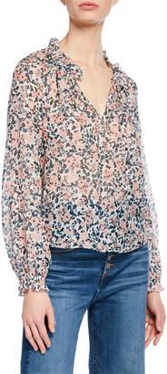 Veronica Beard Antonette Long-Sleeve Floral Silk Top