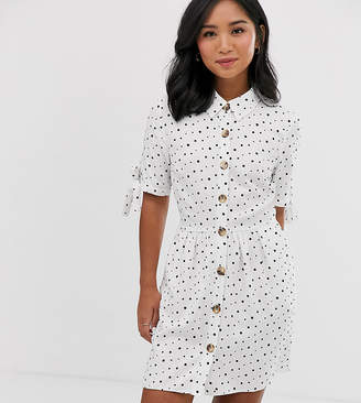 Miss Selfridge Petite shirt dress in polka dot