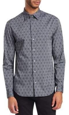 Emporio Armani Regular-Fit Geometric-Print Button-Down Shirt