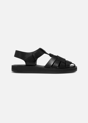 The Row Gaia Woven Leather Sandals - Black